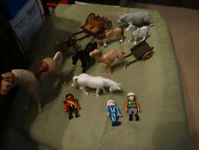 Large Lot of Vintage Playmobil Figures Horses/Camel/Rhino/Buggie s