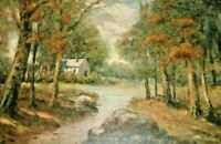 Antique American Impressionist Oil Painting Fall Landscape Deep Into The Forest
