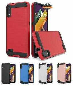 For LG K22 /K32 5G Case Hybrid Rugged Brushed Soft TPU Hard PC Dual Layer Cover