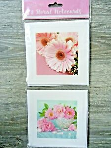 8 NOTECARDS - FLOWERS - FLORAL - blank : thank you - any message - notelets