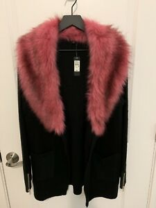 River Island Fur Trim Cardigan Black UK Size 10 NWT