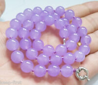 """Fashion Women's 10mm Natural Lavender Jade Gemstone Round Beads Necklace 18"""" AAA"""