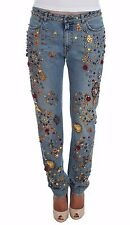 DOLCE & GABBANA Jeans NWT $7900 Crystal Roses Heart Embellished IT36/US2/ XS