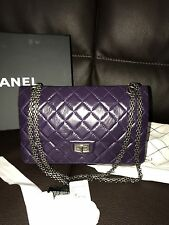 NIB New RARE CHANEL 2.55 Classic Quilted Leather Metal Chain Plum Purple CC Bag