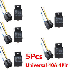 5 x Mini Relay SPST 4Pins 12V DC 40A Contact Car Vehicle & 5X Socket 4Pin Wire