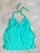 NEW Liz Lang Women's Maternity Swim Strappy Halter Tankini Top Mint Size XXL