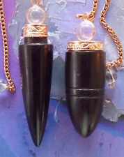 2 Solid Rosewood And Copper Dowsing Pendulum With Crystal Quartz Orb And Pouches