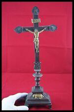 † 18TH BRONZE & GOLD ALTAR CRUCIFIX CHURCH CROSS JESUS CHRIST CORPUS AGNUS DEI †