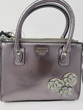 GUESS SMALL purse SILVER flower design NWT MSRP 199.99
