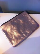 Marc Jacobs metallic rose gold pink clutch pouch leather zip Neiman Marcus