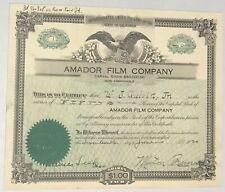 1920 AMADOR FILM COMPANY Stock Certificate California