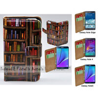 For Samsung Galaxy Note Series - Bookshelf Print Wallet Mobile Phone Case Cover