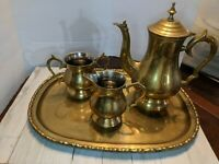 Brass Teapot Sugar & Creamer with Tray Vintage Made in India Set of 4