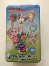 DISNEY JUNIOR PLAYING CARD GAMES SUPER SET New Metal Tin Sofia Minnie Doc McStuf