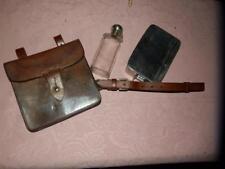 Antico inglese in pelle Mensa Custodia & Vetro. CACCIA Fiaschetta. e Sandwich Box.