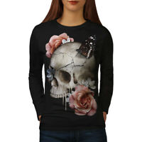 Wellcoda Flowers Skull Rose Womens Long Sleeve T-shirt, Concert Casual Design