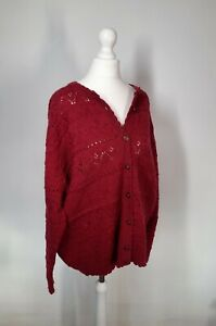 Marks and Spencer Chunky Knit Cardigan Red Size 20 Wool Blend Vintage Pointelle