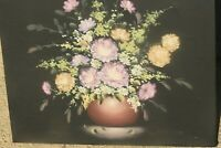 VINTAGE FRENCH OIL ON CANVAS PAINTING IMPRESSIONIST STILL LIFE FLOWERS SIGNED