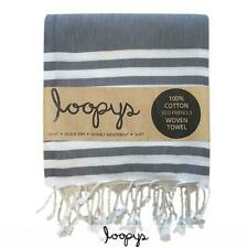 Loopys Grey & White Double Stripe Turkish Towel Beach Bath Pool Travel Hammam