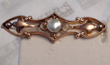 Victorian 9k yellow gold Filigree Mabe Pearl Lingerie Scrolls Pin British marks