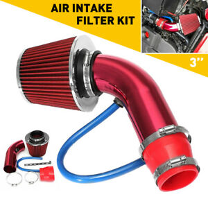 Red Cold Air Intake Filter Induction Kit Pipe Power Flow Hose System Car Auto