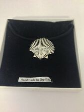 Sea Shell PP-G24 Motif Pewter  PENDENT ON A  BLACK CORD  Necklace