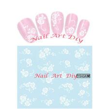 20 Stickers-Decals Water Transfer Flowers-Tattoo Adesivi Unghie Fiori Bianchi !!