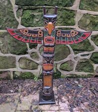 Totem pole 100cm Hand Carved Wooden Painted Native American man cave