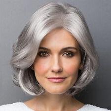Women Elegant Short Silver Grey Curly Hair Synthetic Wig Cosplay Hair Wigs dp~