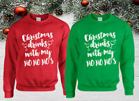 CHRISTMAS DRINK WITH MY HO HO HO Jumper,  Funny Santa Xmas Day Kids & Adults Top