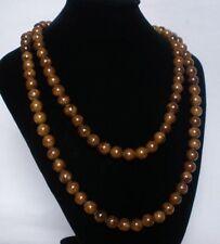 Superb 54inch Chinese Tibet Brown Jade Gemstone Bead Long Necklace