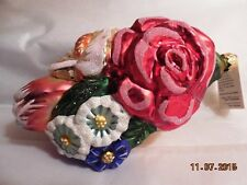 "Flower Cluster I Full Bloom 5.5"" Nib Blown Glass Slavic Treasures Ornament"