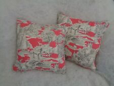 """NEW LISTING BY CLARKE & CLARKE MANOR TOILE RASPBERRY 1 PAIR 18""""CUSHION COVERS"""