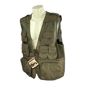 Humvee Men's Safari Photo Fishing Hunting 100% Polyester NWT Olive Green Vest XL