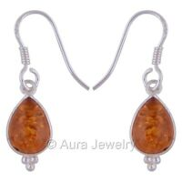 Solid 925 Sterling Silver Natural Amber Drop & Dangle Earrings Jewelry E1722-1