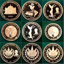 1971 Republica De El Salvador Gold Silver Set 6 Coins Indepence Anniversary