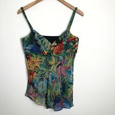 Designers at Debenhams Tropical Floral Silk Lined Beaded Top Size 14