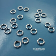 20PC Sterling Silver 18 Gauge 1mm x 5mm Twisted Closed Jump Ring Connector 33114