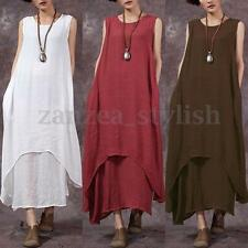 Zanzea Vintage Women Summer Sleeveless Rayon Linen Kaftan Maxi Dress Long Tops