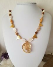 Golden Beaches Beaded Necklace With Sea Snail Pendant Made By Swarovski