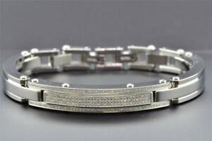 "3 Row Diamond Bracelet Stainless Steel Mens Arctica Round 8"" Link Bangle 1.15 Ct"