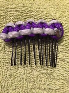 Paracord Hair comb-Purple and Gray