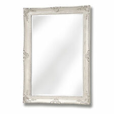 Large STUNNING French Vintage Style Rectangular Wall Mirror in Antique White