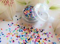 "3D Nail Art ""Rainbow"" Diamond Rhombus Shape Matte Mix Colour Pot Spangle Glitter"