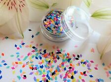 "3D Nail Art ""Rainbow"" Diamond Rhombus Shape Matte Mix Colour Pot Spangle Glitter"