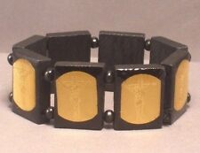 Christian Bracelet CRUCIFIXION GOLD FOIL IMAGE Wood Bead Stretch BLACK Nice!