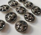 Vintage Art Nouveau Revival Repousse Style Mirror Flower Buttons set of 10