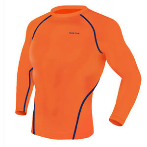 Take Five Mens Skin Tight Compression Base Layer Running Shirt Orange NT006