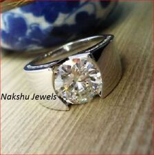 3Ct H-I White Color Moissanite 925 Sterling Silver Engagement Man's Ring Antique