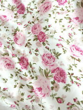 "Floral Rose Ivory Pink Faux Silk Satin 48""W Fabric BTY Dress Scarfs Skirt Drape"